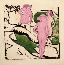 Ernst Ludwig Kirchner, Badende Frauen zwischen weißen Steinen, 1912, Farbholzschnitt, Brücke-Museum Berlin