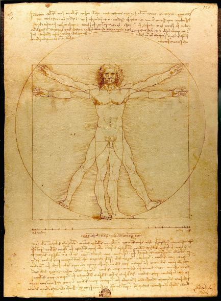 Leonardo: Der vitruvianische Mensch. Proportionsschema der  menschlichen Gestalt nach Vitruv. Foto: Luc Viatour.