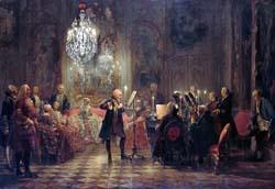 Flötenkonzert Friedrichs des Großen in Sanssouci_Adolph Menzel ca 1850