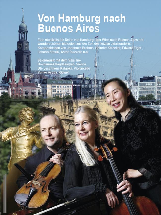 Hintergrundfotos: Jürgen Mala / pixelio.de (Hamburg), Jorge Royan /wikipedia.de (Strauß), Alte POstkarte aus Buenos Aires