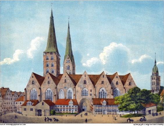 Hamburger Dom um 1800 mit den Türmen von St. Petri und St. Jacobi. Lithographie von P.Stuhr nach einer Zeichnung von C.Stuhr.