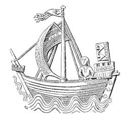 Hansekogge auf historischem Siegel aus Stralsund.  Quelle: www.wikipedia.de