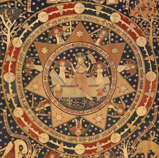 Osterteppich (Detail), Kloster Lüne, 1504/05 Leinengewebe, Wollgarn, Klosterstich, ca. H. 475 cm; B. 420 cm, MKG, Foto: Hiltmann/Rowinski/Torneberg, MKG