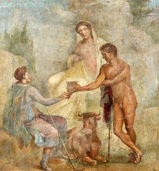 Pompeji: Io, Argos und Hermes, Wandfresko