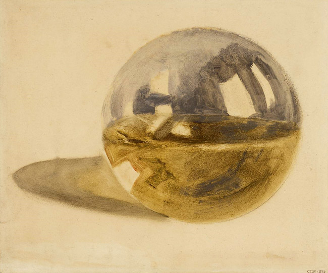 William Turner (1775-1851): Schautafel: Reflexionen und Lichtbrechungen auf einer durchsichtigen Kugel, halb gefüllt mit Wasser, um 1810, Tate, London. Accepted by the nation as part of the Turner Bequest 1856