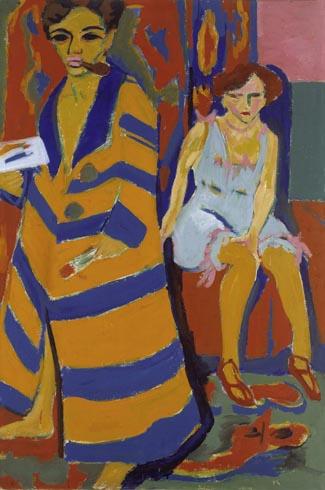 Ernst Ludwig Kirchner (1880–1938), Selbstbildnis mit Modell, 1910, überarbeitet 1926. Öl auf Leinwand, 150,4 x 100 cm © Hamburger Kunsthalle/bpk. Photo: Elke Walford